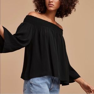 Aritzia/ Talula off-shoulder blouse black
